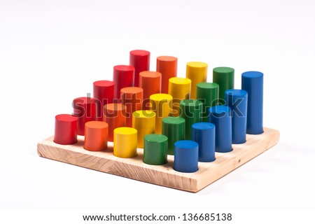 Early Learning Toy: Cylinders of Different Colors and Height