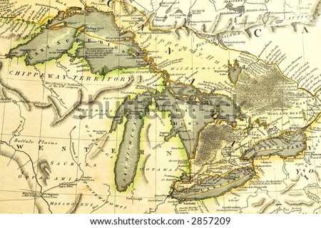 early map of the great lakes. ...