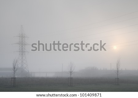 Early misty morning in the city. Soft focus