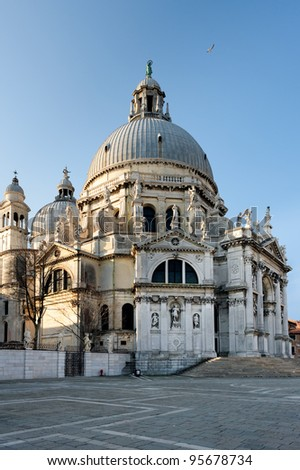 Early morning above the Santa Maria della Salute. Basilica of St Mary of Health.
