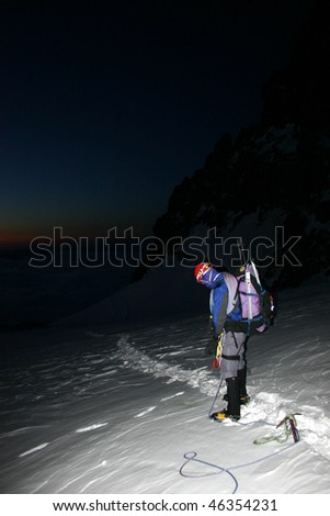 Early morning ascent on Mount Rainier