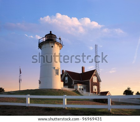 Early Morning At The Nobska Point Light, Woods Hole, Cape Cod, Massachusetts, USA - stock photo