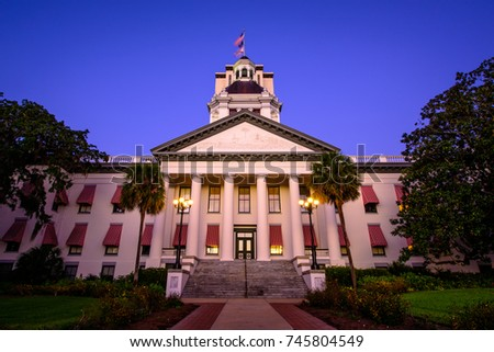 Early morning at the old Capitol of Florida, located in Tallahassee, sitting with the new capitol quietly looming over it. #745804549