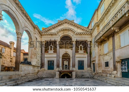 Early morning at the peristyle or peristil inside Diocletian's Palace in the old town section of Split Croatia