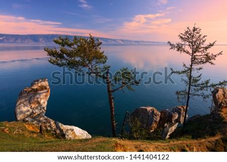 Early morning at the Small Sea Strait of Lake Baikal #1441404122