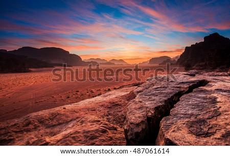 Early morning at the Wadi Rum desert. Jordan