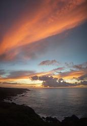 Early morning, beautiful blazing colorful sea sunrise at Yakushima island
