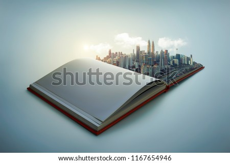 Early morning beautiful scene of modern city skyline pop up in the open book pages.