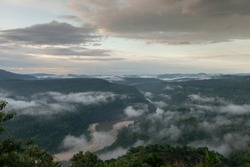 Early morning cloud formation in the forest of Karwani River,Garo Hills,Meghalaya,India