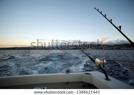 Early morning fishing run off the island of Kauai #1388621441