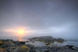 Early morning fog along the Atlantic coastline.
