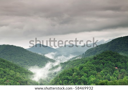 Early morning fog and cloud mountain valley landscape. Great Smoky Mountain National Park, Tennessee, USA