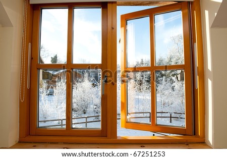 Early morning frosty winter view through a window. - stock photo