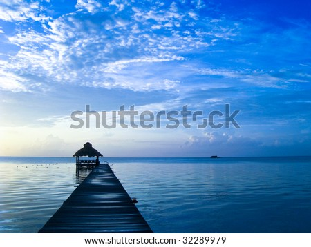 Early Morning in Ambergris Caye, Belize. - stock photo