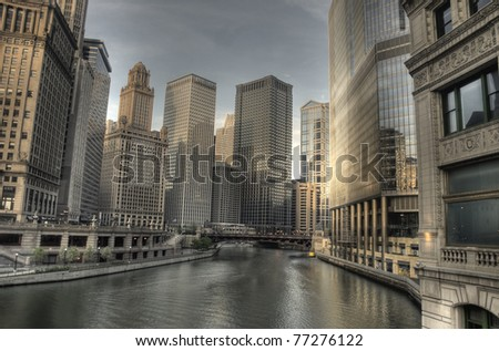 Early Morning in Chicago Over River