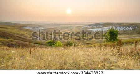 Early morning in steppe at Kolyuzhny Yar protected area near Rovenki, Belgorod region, southern Russia