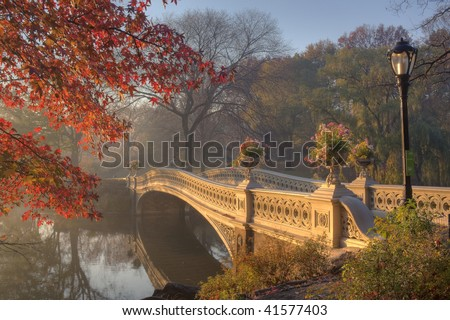 Early morning in the fog in Central Park New York City by the bow bridge