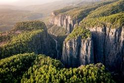 Early morning, just after sunrise. Tazi Canyon (Bilgelik Vadisi) in Manavgat, Antalya, Turkey. Amazing landscape and cliff. Greyhound Canyon, Wisdom Valley.