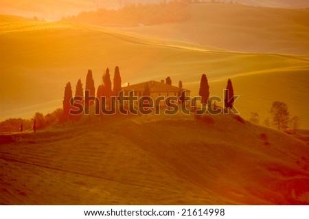 Early-morning light on an Italian villa in the Tuscany region of Italy.