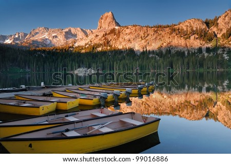 Early morning light on Lake Mary at Mammoth Mountains in California