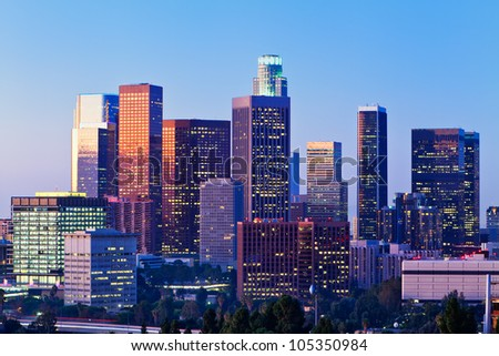 Early morning light on the Los Angeles skyline.