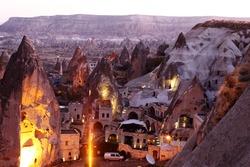 Early morning Long exposure of fairy chimneys town of Goreme - Cappadocia Turkey.