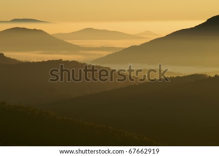 Early Morning Misty Mountains of North Carolina Horizontal With Copy Space