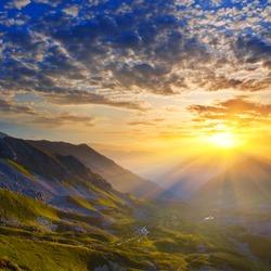 early morning mountain scene