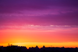 early morning multicolored summer  sunrise in Kiev, Ukraine