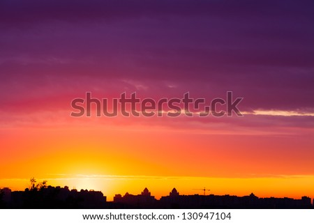 early morning multicolored summer  sunrise in Kiev, Ukraine