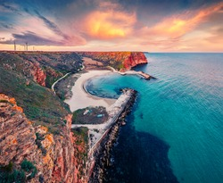 Early morning on Bolata beach. Stunning spring seascape of Black sea. Adorable  sunrise in Bulgaria, Europe. Beauty of nature concept background.