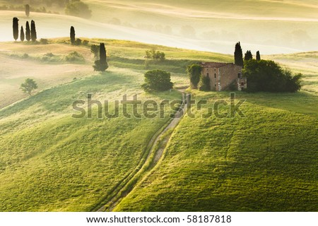 Early morning on countryside in Tuscany