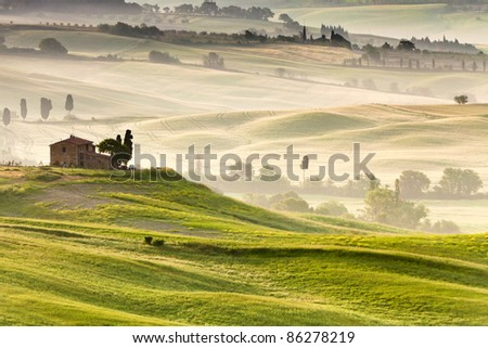 Early morning on countryside near Pienza, Tuscany, Italy