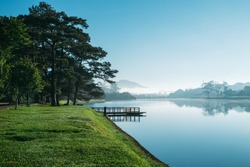 Early morning on Ho Xuan Huong lake stock, Da Lat, Viet Nam