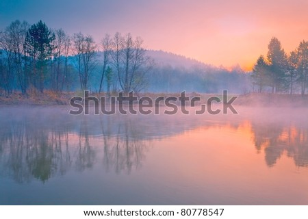 Early morning on river Inzer - stock photo