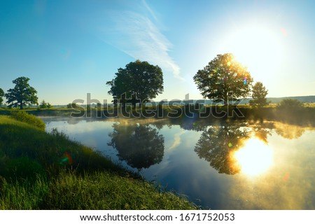 Early morning on the river in the summer, in the spring. the rays of the sun glowing through the trees on the shore. Grass in the dew and fog over the water.