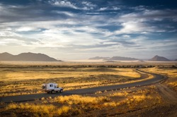 Early morning on the way to the sand dunes of Sossusvlei and Dead Vlei, Namibia.