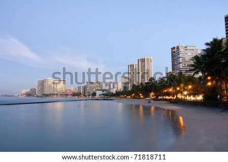 Early morning over Waikiki beach, Honolulu, Hawaii.