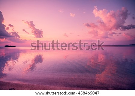 Early morning, pink sunrise over sea #458465047