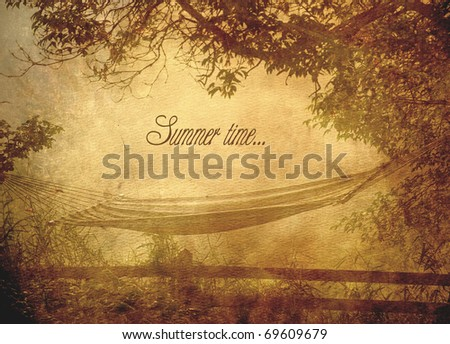 "Early morning rural view of a fence, hammock and meadow with text ""Summer time..."". Grunge textured."