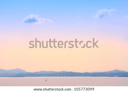 Early morning sea landscape background in Kerkyra, Greece