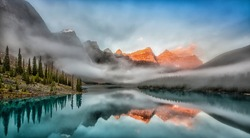 Early morning sunrise at Lake Moraine, Banff National Park, Canadian Rockies
