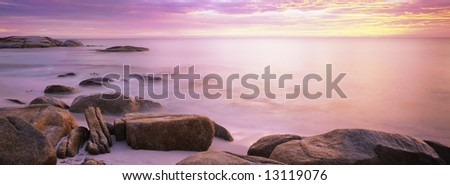 early morning sunrise on the bay of fires