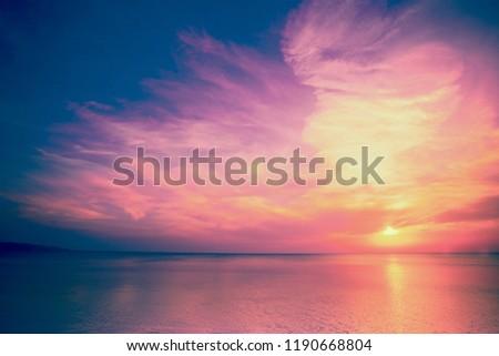 Early morning, sunrise over sea #1190668804
