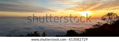 early morning sunrise over the sea of mist.