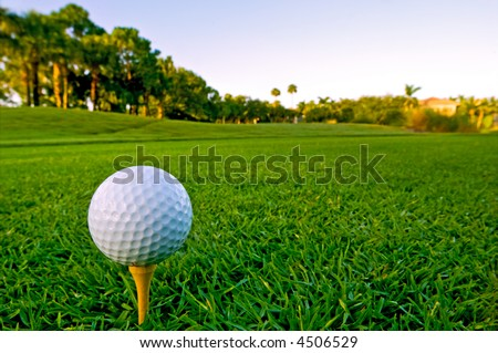 early morning tee time at the golf course - stock photo