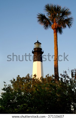 Early Morning Tybee Island Lighthouse Vertical With Copy Space