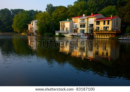 Early morning view of houses on Lake Anne in Reston, Virginia