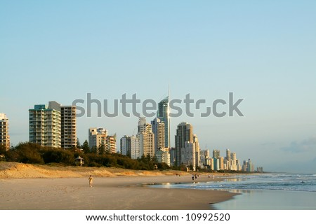 Early morning view of Surfers Paradise skyline on the Gold Coast Australia from the Southern end of the beach.