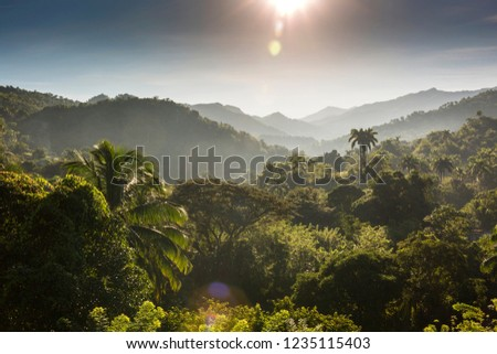 Early morning view of tropical mountains of Sierra Maestra, Cuba